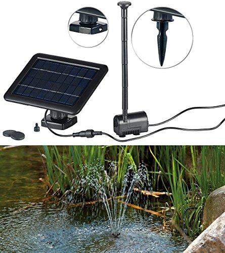 Royal Gardineer Solarpumpe Teich- und Springbrunnen-Pumpe mit 2-Watt-Solarpanel und Akkubetrieb Solar Springbrunnen