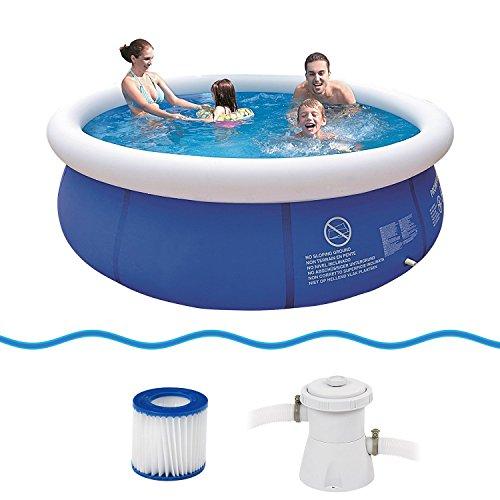 Jilong Marin Blue Rundpool Set Ø 300x76 cm mit Becken Pumpe Filter-Kartusche Quick-Up Swimming Pool Fast-Set Kinder und Familien Schwimmbecken Schwimmbad für Garten und Terasse