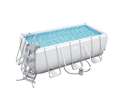 Bestway Frame Pool Power Steel Set hellgrau 412 x 201 x 122 cm