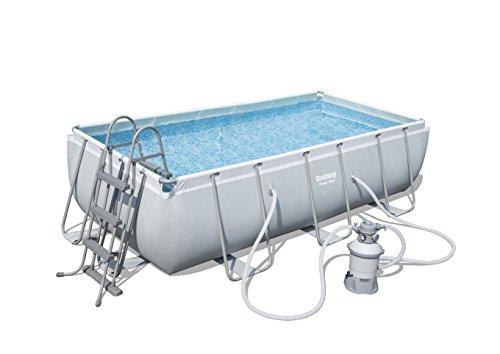 Bestway Power Steel Frame Pool Set viereckig grau 404 x 201 x 100 cm