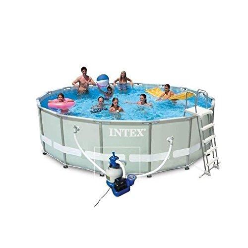 Intex 28324 Ultra Rondo I Frame Pool Set Sandfilteranlage 4542 lh Leiter Abdeckplane Bodenschutzplane 488 x 122 cm