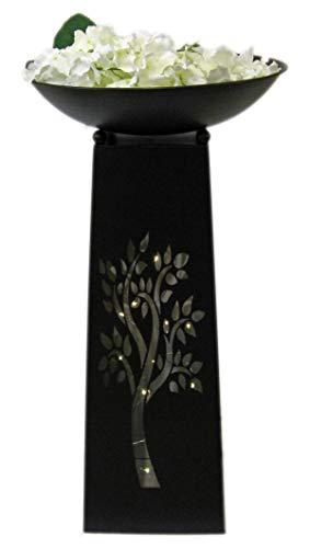 GILDE Metall Pflanzständer Baum komplett im Set mit Schale Blumengirlande und Lichterkette