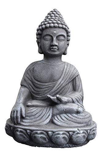 Buddha Figur in Schiefergrau Deko Statue Steinfigur Garten frostsicher