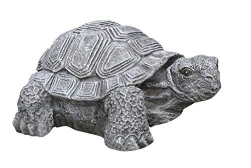 Tiefes Kunsthandwerk Gartenfigur Schildkröte groß - Schiefergrau Deko Figur Garten Stein frostsicher