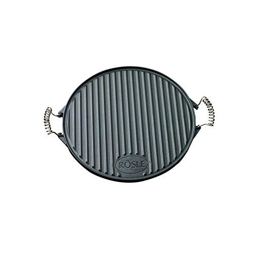 RÖSLE Grillplatte rund emailliertes Gusseisen matt schwarz 52 x 40 x 2 cm 6 kg bewegliche Griffe beidseitig verwendbar