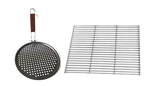 CHM Grillroste in verschiednen Größen aus Edelstahl Grillgitter Grillrost Grillaufsatz eckig und rund  100 Lebensmittelecht  60x40cm  Grillpfanne