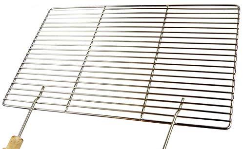 AKTIONA Edelstahl Grillrost 50 x 35 cm  2 Griffe nur 10 mm Stababstand Stäbe Ø 4mm  stabil