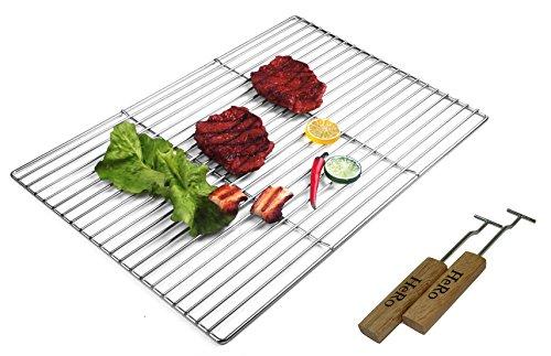 Unbekannt Grillrost aus Edelstahl Eckig 60 cm x 40 cm Inklusive 2 Haltegriffe