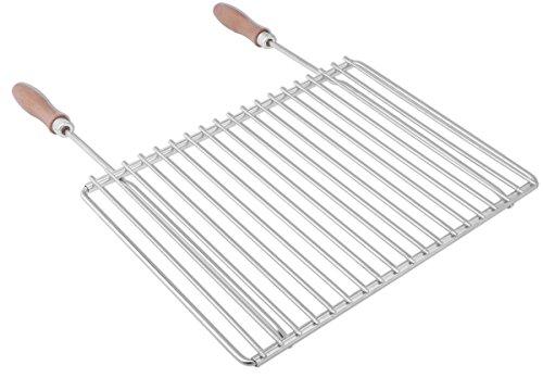 Edelstahl Grillrost mit verstellbarer Breite 40-55X30cm aus Europäischem Edelstahl mit Holzgriffen Verstellbarer Grillrost Grillrost Rostfrei