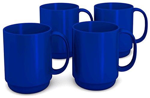 Ornamin Becher mit Henkel 300 ml blau 4er-Set Modell 510  Mehrweg-Becher Kunststoff Kaffeebecher