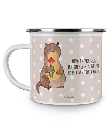 Mr Mrs Panda Emaille Tasse Otter Blumenstrauß - Otter Seeotter See Otter Emaille Tasse Metalltasse Kaffeetasse Tasse Becher Kaffeebecher Camping Campingbecher