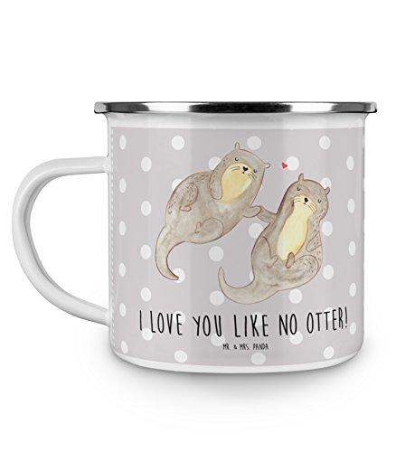 Mr Mrs Panda Emaille Tasse Otter händchenhaltend - Otter Seeotter See Otter Emaille Tasse Metalltasse Kaffeetasse Tasse Becher Kaffeebecher Camping Campingbecher
