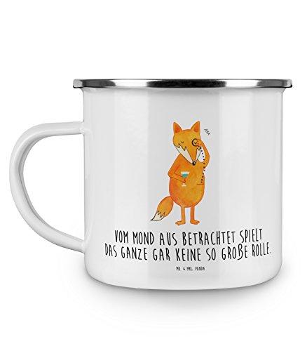 Mr Mrs Panda Kaffeebecher Becher Emaille Tasse Fuchs Lord mit Spruch - Farbe Weiß