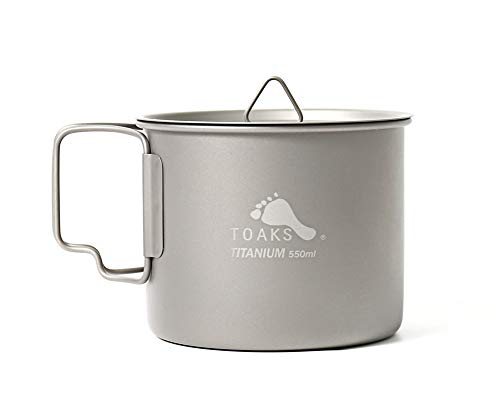 TOAKS Pure Titanium Geschirr im Freien Becher Camping Tasse große Größe Kann als Topf Verwendet Werden 375 ml 450 ml 550 ml 650 ml 750 ml 1100 ml