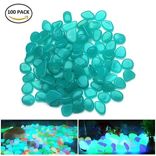 elfisheu Leuchtende Pflastersteine Nachtleuchtende Steine Kieselstein Aquarium Floureszierende Pebbles Stein Dekorationen für Garten Hof 100 Blau