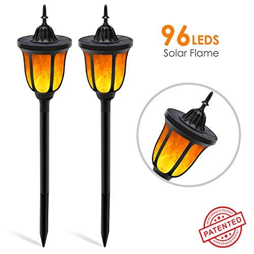 B-right 2x Led Gartenleuchten solar Fackeln Flamme Lampe mit 96 Leds Licht Sensor IP65 Wasserdicht Gartenlampe Gartenbeleuchtung mit Erdspieß Außen für Garten Hof Terrasse