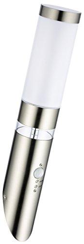 Edelstahl LED Außen Wand-Leuchte Wand-Lampe Lisa Fackel Hauptlicht LED E27 5W und LED Grundlicht Bewegungsmelder und Dämmerungssensor