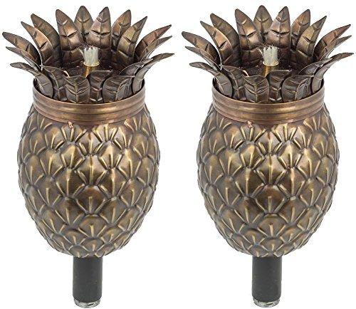Legends Direct Maui Tiki Stil Fackel Set von 2 Landschaft Fackel Öl Lampen Bronze Ananas