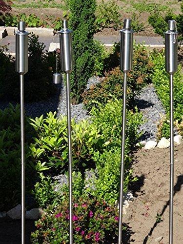 Tourwell Vertrieb 4 x Gartenfackel Ölfackel Edelstahl Fackeln XXL 120 cm rostfrei Wetterfest - Garten Fackel in Premium Qualität mit Metallerdspieß weitere Gartenfackeln erhältlich