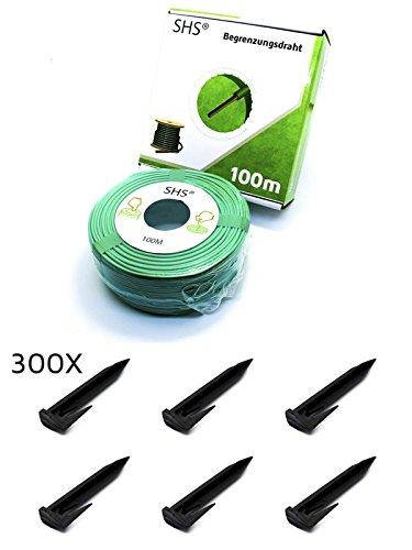 100m SHS Begrenzungskabel  300 Erdspieße Haken für Mähroboter Zubehör SET Begrenzungsdraht für SuchkabelGARDENA  BOSCHHUSQVARNA  WORXHONDA  ROBOMOWiMow