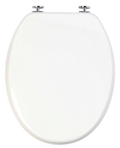 topseat WC-Sitz mit Scharnieren aus Messing Holz Weiß