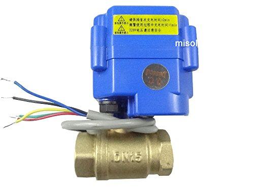 MISOL 1 pcs of motorized valve brass G12 DN15 2 way CR05 12VDC electrical valve motorized ball valveMotorischer Kugelhahn elektrisches Ventil