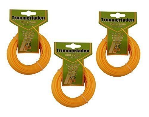 3 x Trimmerfaden 15m x 2mm Mähfaden Ersatzfaden für Rasentrimmer Nylonfaden