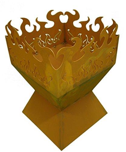 Metallmichl Edelrost Feuerkorb Feuerzauber rechteckig Rostige Feuerschale Feuerschale aus Rost Metall stabil und langlebig mit Flammen-Motiv