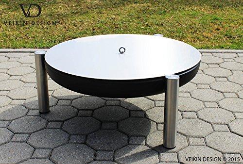 Deckel aus Edelstahl für Feuerschalen Durchmesser Ø 50 cm Ring-Griff Edelstahl Premium Qualität