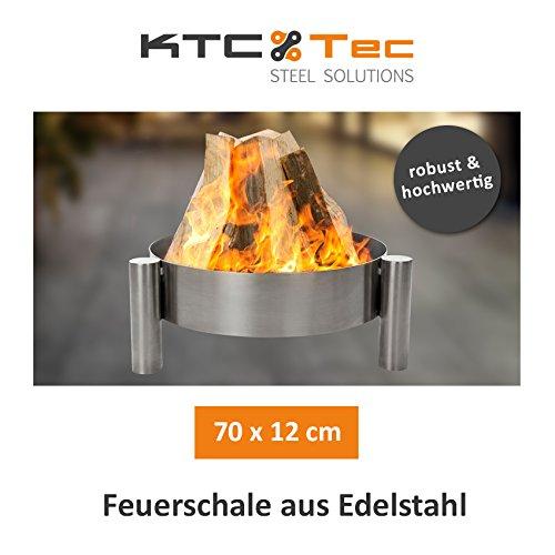 KTC Tec Profi Edelstahl Feuerschale 50 cm Garten Feuerstelle Feuerkorb Pflanzschale Klöpperboden Terrasse
