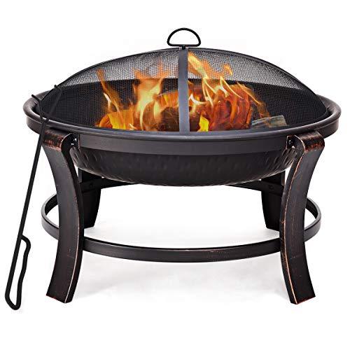 Blitzzauber 24 Feuerstelle Feuerschale Kohlenbecken Feuerkorb Feuerschrank Grillschale mit Funkenschutz Metall inkl Vollstahlstange