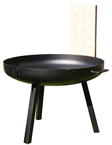 AKTIONA 70cm Feuerschale Edelstahl Schwenkgrill 60cm  2 Flammlachs XL Buchenbretter Grillbürste
