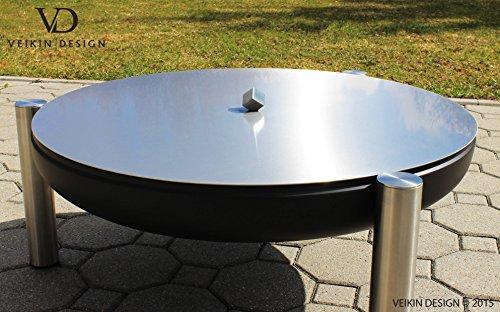 Design Deckel aus Edelstahl für Feuerschalen Durchmesser Ø 60 cm Exklusiver Würfel-Griff aus Edelstahl Vollmaterial Edelstahl Premium Qualität