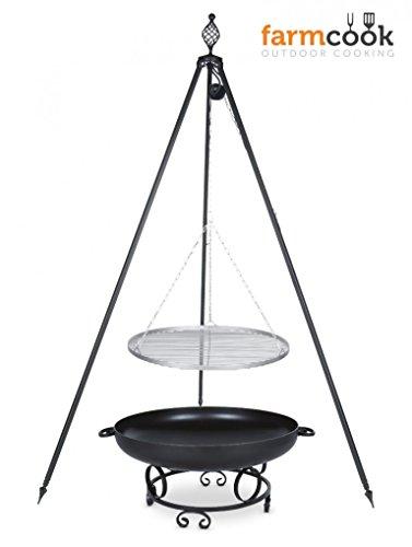 Dreibein Grill OSKAR Höhe 210cm  Grillrost aus Edelstahl Durchmesser 50cm  Feuerschale Pan43 Durchmesser 60cm