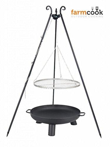 Dreibein Grill VIKING Höhe 180cm  Grillrost aus Edelstahl Durchmesser 60cm  Feuerschale Pan37 Durchmesser 70cm
