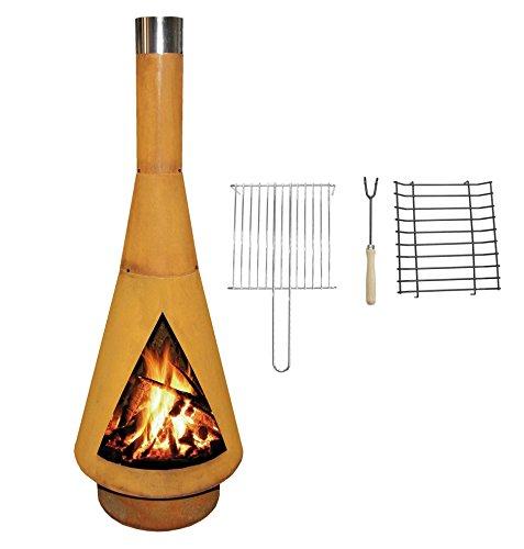 YERD Corten Terrassen-OfenGrill-Kamin Denver BBQ Echter Corten-Stahl Gartenkamin Edelrost inkl Grill-Rost L 125cm Corten