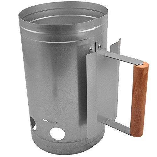broil-master BBQ Grill-Kohleanzünder  Verzinktem Stahl Körper und Hitzebeständigem Griff  Kohle-Anzünder Holzkohle  Farbe Silber