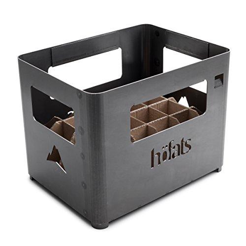 höfats - BEER BOX Feuerkorb - Getränkekiste Feuerkorb Grill und Hocker in einem - für Garten und Terrasse - Corten-Stahl - Rost-Optik