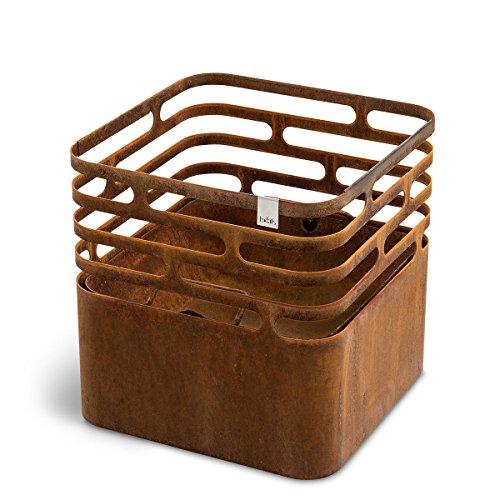 höfats - CUBE Feuerkorb - als Feuerstelle Grill Hocker und Tisch - für Garten und Terrasse - Corten-Stahl - Rost-Optik