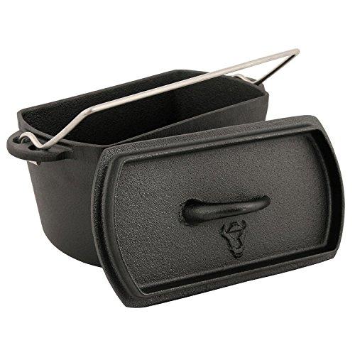 BBQ-TORO Backtopf Dutch Oven Topf Kochtopf aus Gusseisen ohne Füße Gusstopf Bräter Baking Pot