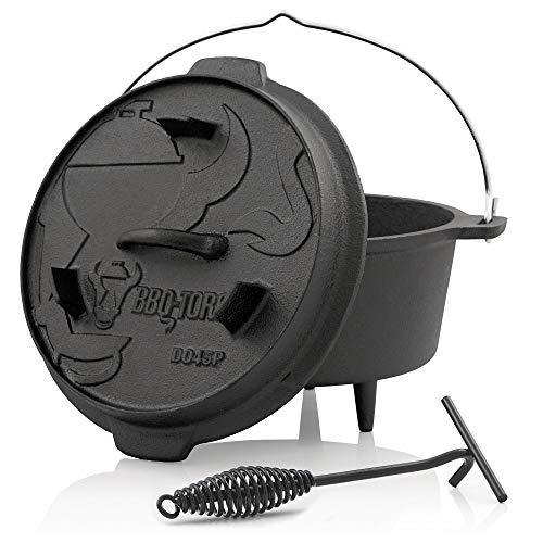 BBQ-Toro Dutch Oven Premium Serie  bereits eingebrannt - preseasoned  Verschiedene Größen  Gusseisen Kochtopf  Bräter mit Deckelheber DO45P - 42 Liter