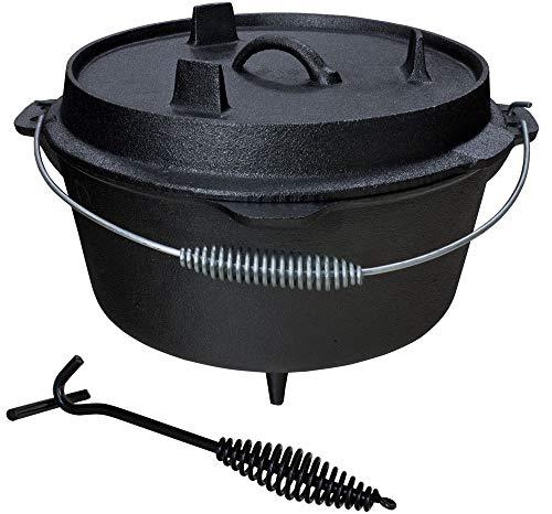 Grillmaster Gusseisen Dutch Oven Feuertopf Grill Lagerfeuer Topf mit Deckelheber eingebrannt 5 Größen zur Auswahl Set GößeSet45 L