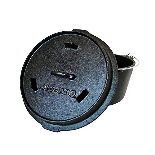 ToCis Big BBQ Premium Do 90 Dutch-Oven aus Gusseisen  Fertig eingebrannter 12er Koch-Topf aus Gusseisen  mit Deckelheber und Deckelständer  mit Füßen