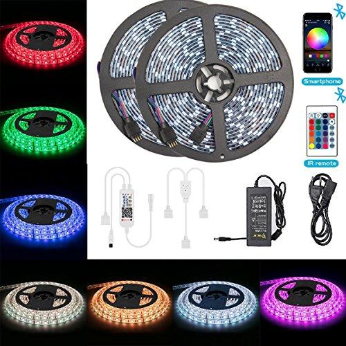 Bluetooth LED Streifen ALED LIGHT 10M 2x5m 328Ft Wasserdicht IP65 RGB 5050 3002x150 LED Stripes mit Smart Bluetooth Kontroller24Tasten Fernbedienung12V 6A Netzteil für Haus Garten Dekoration
