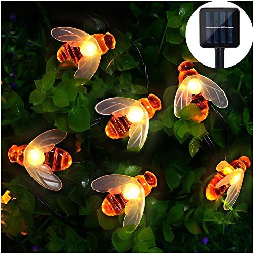 Solar LED Bienen Lichterkette MrTwinklelight 30 LED Warmweiß Außen Wasserdichte lichterkette Dekorative für Garten Party Hochzeit HausFest Deko Beleuchtung Warmes Weiß