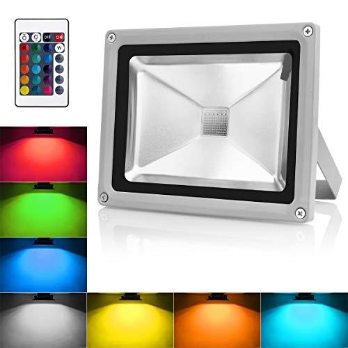 Warmoon Led Flutlicht RGB Strahler 30W IP65 Wasserdicht Außen Dekolicht Farbwechselhaft Lampen mit EU Plug Fernbedienung für WehnachtendekoHauseGarten