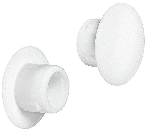 Gedotec Blindstopfen eindrücken Schrauben-Abdeckungen rund Möbel-Abdeckkappen rundlich - H1116  Ø 8 mm  Kunststoff weiß für Blindbohrung  20 Stück