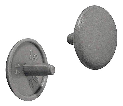 Gedotec Möbel-Abdeckkappen rund Schrauben-Abdeckungen Kunststoff Schrauben-Kappen grau RAL 7037  Modell Nr H1115  Verschluss-Stopfen für Kopflochbohrung PZ2  Ø 12 x 25 mm  50 Stück