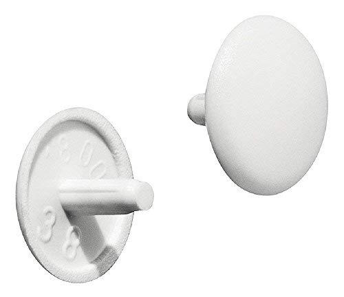 Gedotec Möbel-Abdeckkappen rund Verschluss-Stopfen für Kopflochbohrung PZ2 Schrauben-Kappen Kunststoff  H1115  Ø 12 x 25 mm  weiß  50 Stück