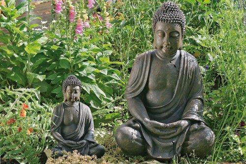 Buddha-Figur Buddha-Skulptur aus Kunstharz sitzend meditierend 1 Stück Höhe ca 70 cm